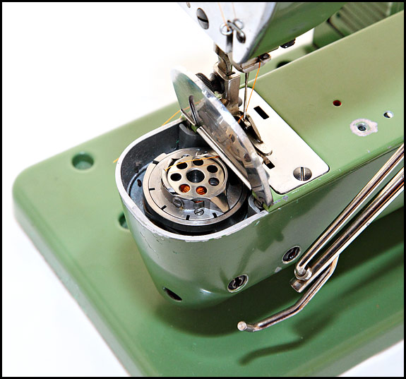 Picture of bobbin area of Elna Grasshopper sewing machine