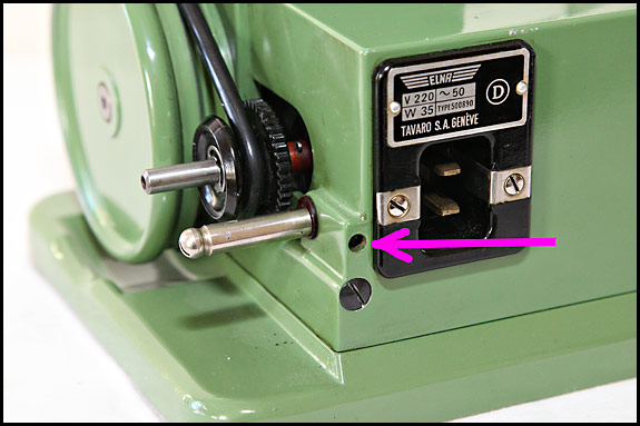 Picture showing Location of Elna Grasshopper eccentric axle locking screw